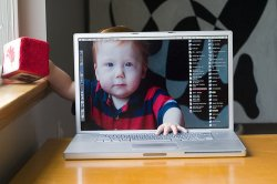 baby gets trapped in apple mac